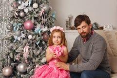 Noël de famille Père et fille Image libre de droits