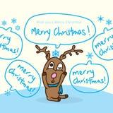 Noël de flocon de neige de sommeil de cerfs communs Joyeux Photos stock