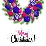 Noël de guirlande de carte de voeux Joyeux photos stock