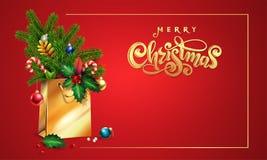 Noël de inscription tiré par la main des textes de vecteur d'or Joyeux sac à provisions 3d, sapin, branches de sapin, jouets de N illustration libre de droits