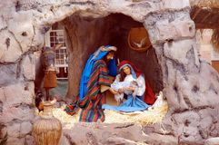 Noël de nativité dans le grand dos de temple Photo stock