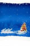 Noël de panneau d'affichage d'affiche sur le fond bleu Photos libres de droits