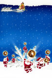 Noël de panneau d'affichage d'affiche sur le fond bleu Photos stock