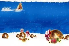 Noël de panneau d'affichage d'affiche sur le fond bleu Photographie stock libre de droits