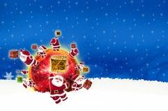 Noël de panneau d'affichage d'affiche sur le fond bleu Photo libre de droits