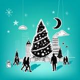Noël de papier de ville Photo libre de droits