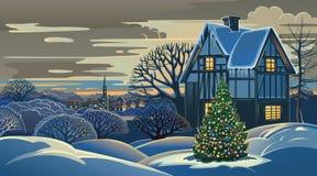 Noël de paysage d'hiver Photographie stock libre de droits