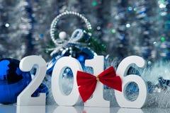 Noël de photo de concept Joyeux avec le grand chiffre blanc Photographie stock