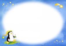 Noël de pingouin - étiquette ovale Images stock