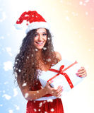 Noël de prise de portrait de femme de Santa de Noël Photos libres de droits