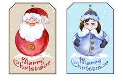 Noël de rectangle étiquette avec Santa Claus de sourire et la jeune fille drôle de neige Images libres de droits