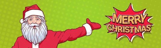 Noël de Santa Claus Pointing Hand To Marry signent plus de le bruit Art Comic Background Poster Design Illustration Libre de Droits