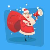 Noël de vacances de bonne année de l'espace de copie de Santa Claus Hold Megaphone Gift Bag Joyeux Photographie stock