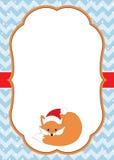 Noël de vecteur et calibre de carte de nouvelle année avec un Fox mignon sur le fond de Chevron Photos stock
