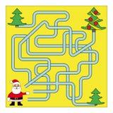 Noël drôle Maze Game : Santa Claus Illustration de vecteur de nouvelle année Photographie stock libre de droits