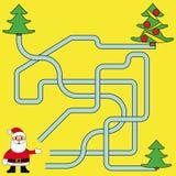 Noël drôle Maze Game : Santa Claus Illustration de vecteur de nouvelle année Photo stock