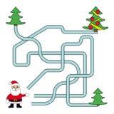 Noël drôle Maze Game : Santa Claus Illustration de vecteur de nouvelle année Images libres de droits
