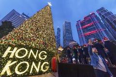 Noël en ville de Hong Kong Images libres de droits
