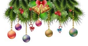 Noël encadre des arbres avec le gui de cloches de Noël de jouets avec des baies Image libre de droits