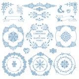 Noël, ensemble de décor de nouvelle année L'hiver Cadres de guirlande Photos libres de droits