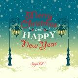 Noël et bonne année de carte de voeux Joyeux Image stock