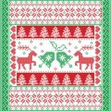 Noël et l'hiver de fête ajustent le modèle dans le style croisé de point avec la cloche de Noël, arbre, renne, coeur, flocon de n Image libre de droits