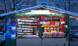 Noël et la foire de nouvelle année sur Sophia Square à Kiev photographie stock libre de droits