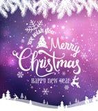 Noël et la nouvelle année typographiques sur le fond avec l'hiver aménagent en parc avec des flocons de neige, s'allument, des ét images stock