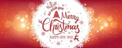 Noël et la nouvelle année typographiques sur le fond de vacances avec des flocons de neige, lumière, se tient le premier rôle images libres de droits