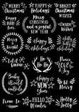 Noël et nouvelle année, ensemble de vecteur Images libres de droits