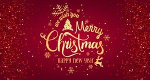 Noël et nouvelle année typographiques sur le fond rouge avec le feu d'artifice d'or photographie stock