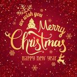 Noël et nouvelle année typographiques sur le fond rouge avec le feu d'artifice, lumière, étoiles Effets de la lumière rougeoyants illustration stock