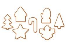 Noël et pain d'épice de nouvelle année avec le lustre, biscuits sur le fond blanc illustration de vecteur