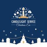 Noël Eve Candlelight Service Invitation Card illustration stock