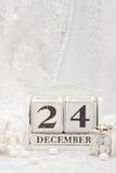 Noël Eve Date On Calendar 24 décembre Photographie stock