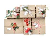 Noël fait main de métier de vintage ou présent rustique de la nouvelle année 2016 Image libre de droits