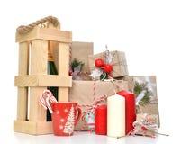 Noël fait main de métier de vintage ou présent rustique de la nouvelle année 2016 Image stock