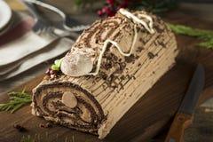 Noël fait maison Yule Log de chocolat photos stock