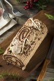 Noël fait maison Yule Log de chocolat image stock