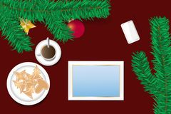 Noël fleuri avec l'écran vide du concept de comprimé Image libre de droits