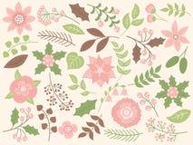 Noël floral de vecteur réglé avec des fleurs et des feuilles illustration libre de droits