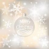 Noël, fond de fête de nouvelle année pour des cartes de voeux Boule argentée avec un souhait des illustrations de Joyeux Noël Images stock