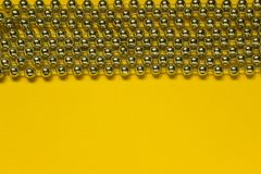 Noël Garland Over Yellow Background image stock