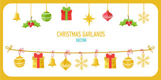 Noël Garland Vector In Gold Color Agrafe Art On White Background de vecteur de vacances d'hiver Nouvelle année Garland Decoration Illustration Stock
