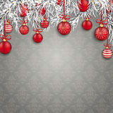 Noël Gray Ornaments Red Baubles Twigs Photographie stock