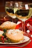 Noël hachent des secteurs avec le houx Photo stock