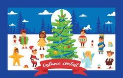 Noël Noël heureux d'hiver de 2019 de bonne année de carte de voeux d'enfants d'enfants de costume de vecteur de fond vacances de  illustration stock
