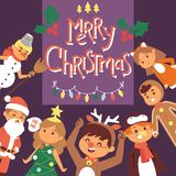 Noël Noël heureux d'hiver de 2019 de bonne année de carte de voeux d'enfants d'enfants de costume de vecteur de fond vacances de  illustration libre de droits