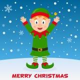 Noël heureux Elf sur la neige Image stock