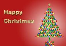 Noël heureux en or avec un arbre illustration stock